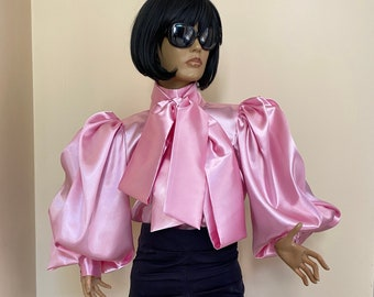 Plus size Pink Formal satin blouse with  high neck and puffy balloon sleeve