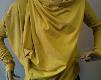 e503f01934d Womens Loose Fit TopAsymmetrical Tunic Top//Extravagant Cotton Top in  mustard color