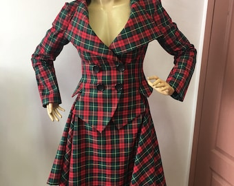 240bb49d83219d Vintage Tartan tailored suit /womens plaid jacket// lady blazer/asymmertic  skirt in Westwood style