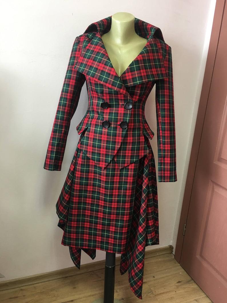 ba8abbf0b60e16 Vintage Tartan tailored suit /womens plaid jacket// lady | Etsy