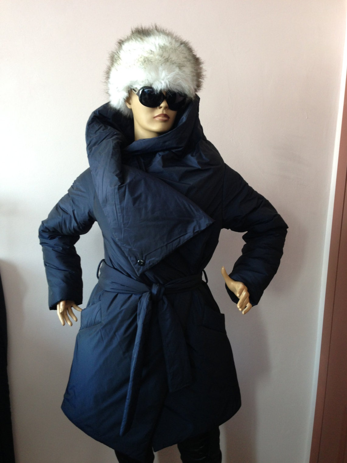 Warm Winter Coat,womens Wrap Down Coat/ Womens Jacket/ Puffer Atmosphere Overcoat In Blue/ Quilted Coat