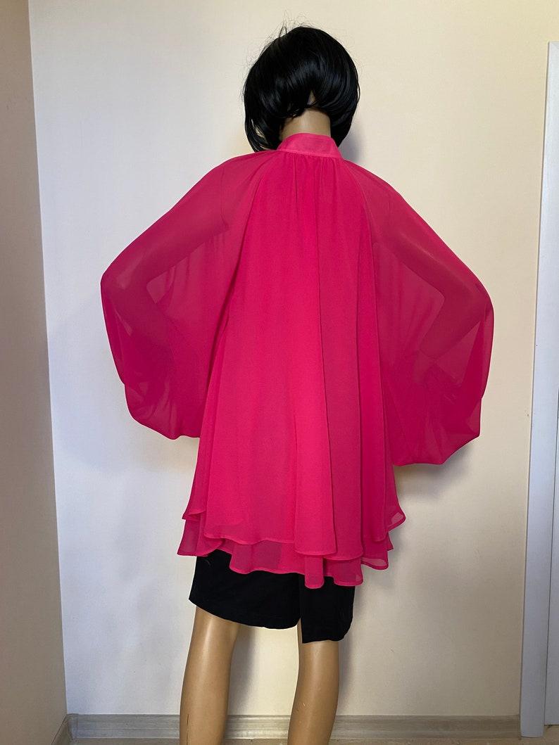 A line dress tunic Summer dress Plus size top Shift dress Fuchsia formal chiffon dress tunic with puffy sleeves