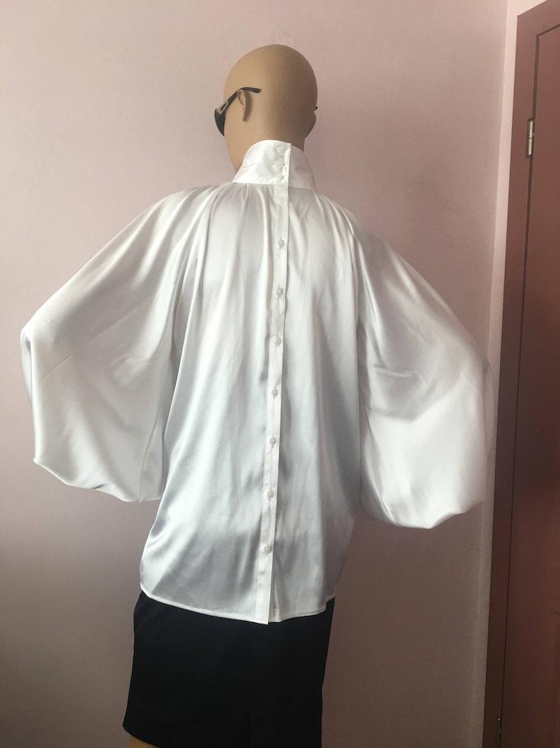 e2081ea69460cb Formal Womens silk bow blouse/ White cocktail satin | Etsy
