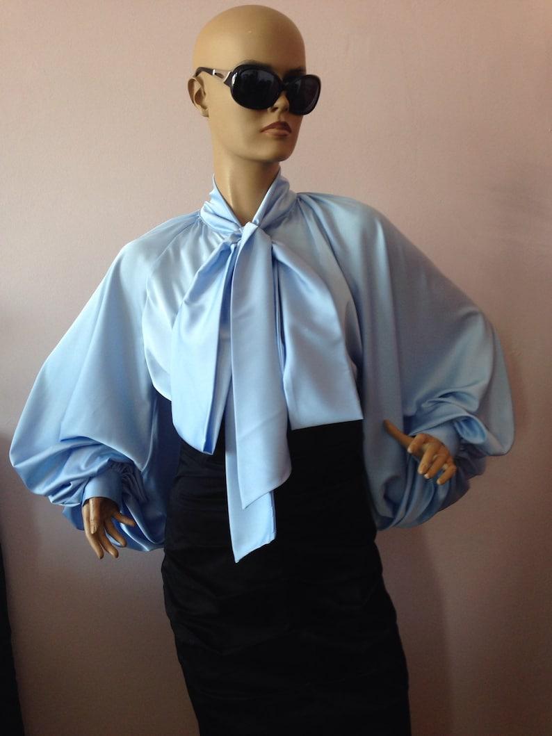 f612b753f7c47b Formal Womens silk blouse/ Baby blue cocktail satin | Etsy