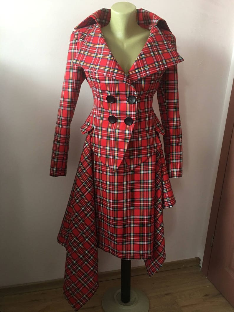 48127925842793 Red Tartan checked Royal Stewart tailored suit /womens plaid | Etsy