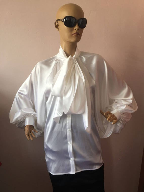 Schleife aus Satin Bluse, formale Damen Satin Bluse weißes cocktail satin Bluse, elegante Damen Bluse, Satin Schleife Shirt