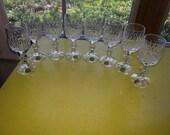 Vintage 1940s Echt Bleikristall Germany 24 Genuine Lead Crystal Set of EIGHT Cut Cordials