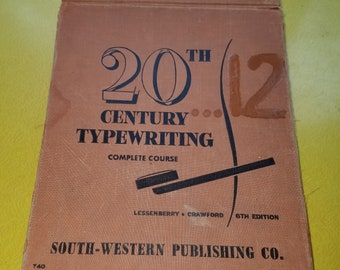 """Vintage 1952 """"20th Century Typewriting"""" Complete Course Typing Hardcover Flip Book"""