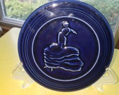 Vintage Style Fiestaware 6 quot quot Cobalt quot Blue Dancing Flamenco Lady Single Hot Plate Trivet