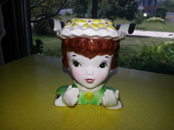 Vintage 1960/'s or early 70/'s  Ceramic Little Girl Small Head Vase
