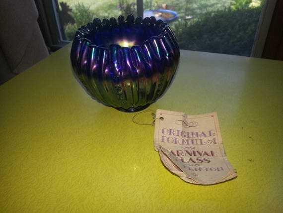 Vintage Original Formula Fenton Carnival Glass Rose Bowl with ORIGINAL Paper Hang Tag