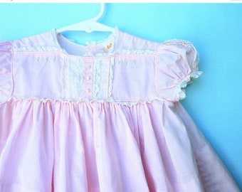 On Sale Lovely Vintage 1950's Pink Infant  Dress w/ Lace and Embroidery  by Castro & Co.    12-18Months