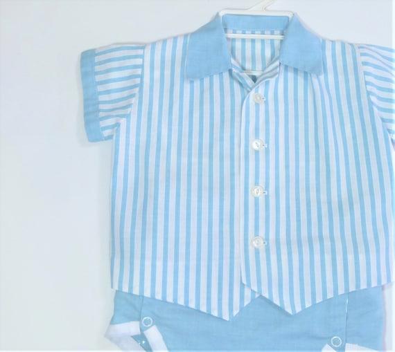 6-9  Baby Shower Gift VTG 50/'s  Baby Boys Blue /& White Short Set Outfit  Windowpane Check  3-6