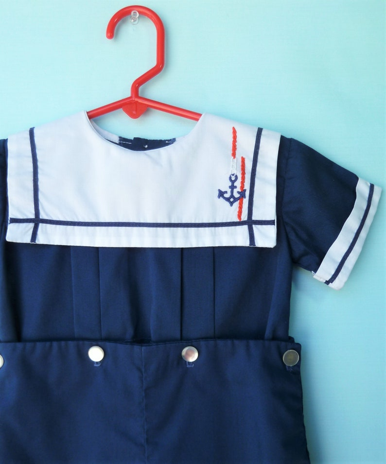 b2cf393bd573 Vintage Toddler Boys Nautical Navy Button Romper w  Wide