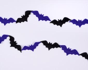 Halloween Bat Felt Garland Autumn Fall Spooky Backdrop Hanging Banner Mantle Home Decor Decorations Bedroom Classroom Kids Children