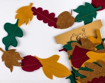 Leaf Felt Garland Autumn Fall Leaves Backdrop Hanging Banner Mantle Home Decor Decorations Halloween Bedroom Nursery Classroom Kids Children