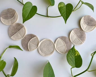 Cream Moon Phases Wall Hanging Garland Felt Handmade Alter Witchcraft Decorations Full Moon Crescent Astronomy Wiccan Pagan Witch Lunar Luna