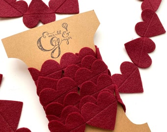 Classic Burgundy Red Heart Felt Garland Baby Shower Party Decorations Backdrop Home Decor Wall Hanging Baby Shower Gift Handmade valentine