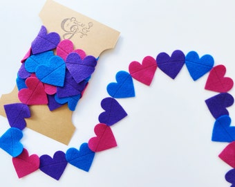Bisexual Flag Inspired Heart Garland Handmade Felt Party Decoration Home Decor Wall Hanging Queer LGBTQ2S Pride