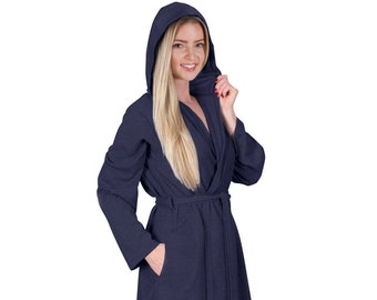 9c171f4f0d Spa Style Women Waffle Knit Short Hoodie Robe Travel Robe Plus Size  Available Great Bridesmaid Gift Robe