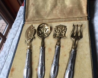 Marsailles Pattern Sterling Silver Vermeil Forks 6 12 Lot of Eight 8 Antique Alvin Silver Manufacturing Company