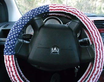 American flag, red, white, and blue steering wheel cover