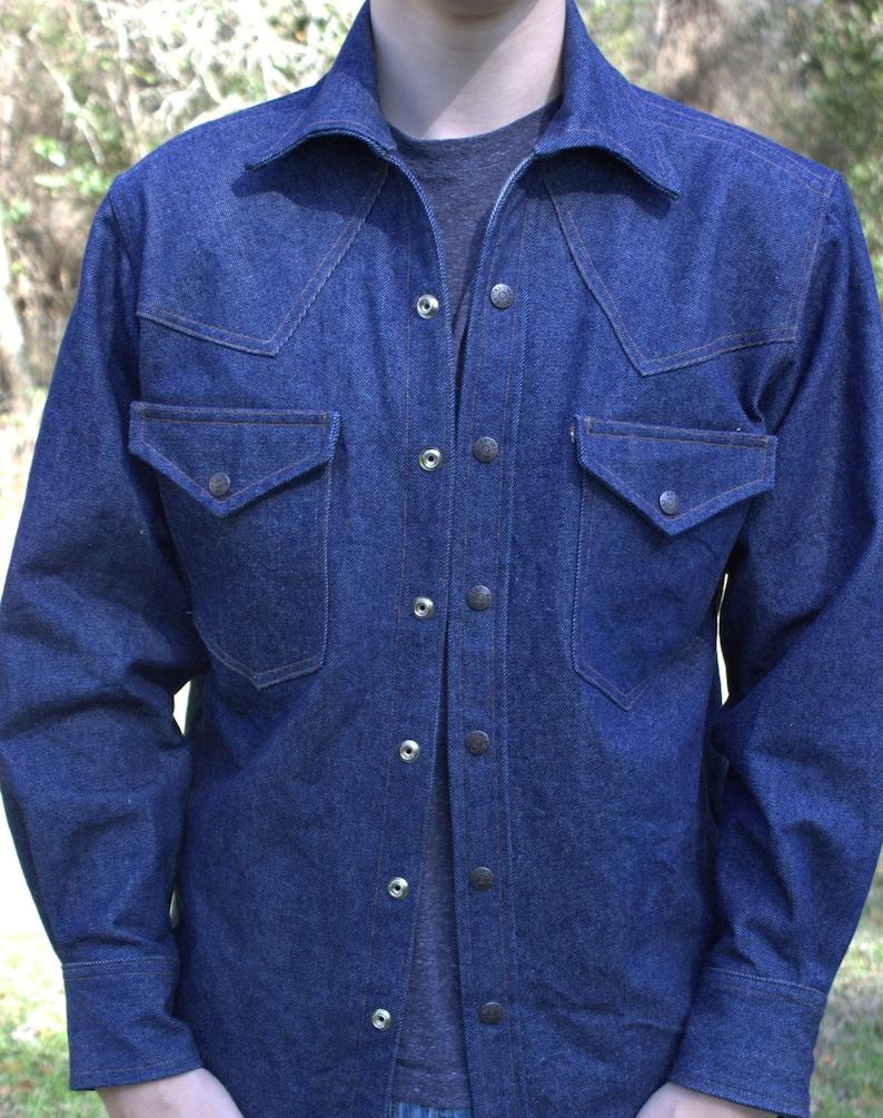 ae29bf05f04e S ML & XLarge Custom made Western style denim shirt/jacket   Etsy