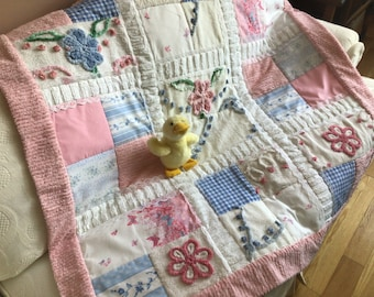 """Handmade 50"""" square lap / crib / baby / sofa quilt in vintage chenille, vintage and new cottage chic fabrics"""