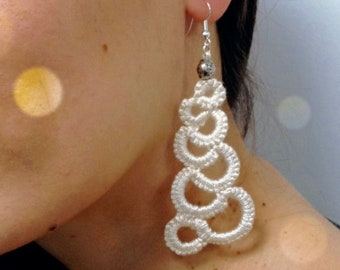 Gift for mother Tatting lace earring silk for bride