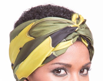Natural silk camouflage scarf, hand painted with batik technique. Colors Green, Yellow, Black