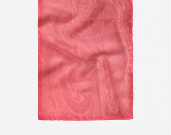 Graduation gift, Silk scarf coral color, digital printing,