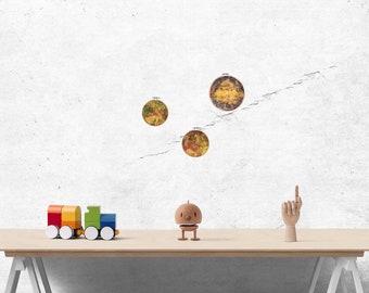 Solar system, Jupiter satellites painted on silk, Europa, Io and Callisto