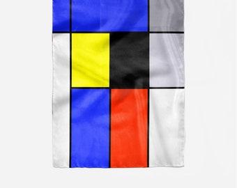 Piet Mondrian inspiration on silk scarf, Modern Abstract Art