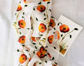 Digital composition of a watercolor painting of poppies, on a natural silk scarf