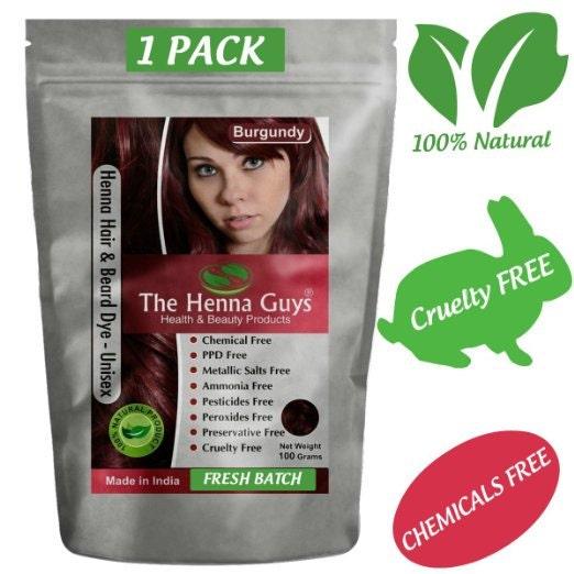 Burgundy Henna Hair Dye: Burgundy Red Henna Hair Dye Powder 100g 3.53 Oz 100%