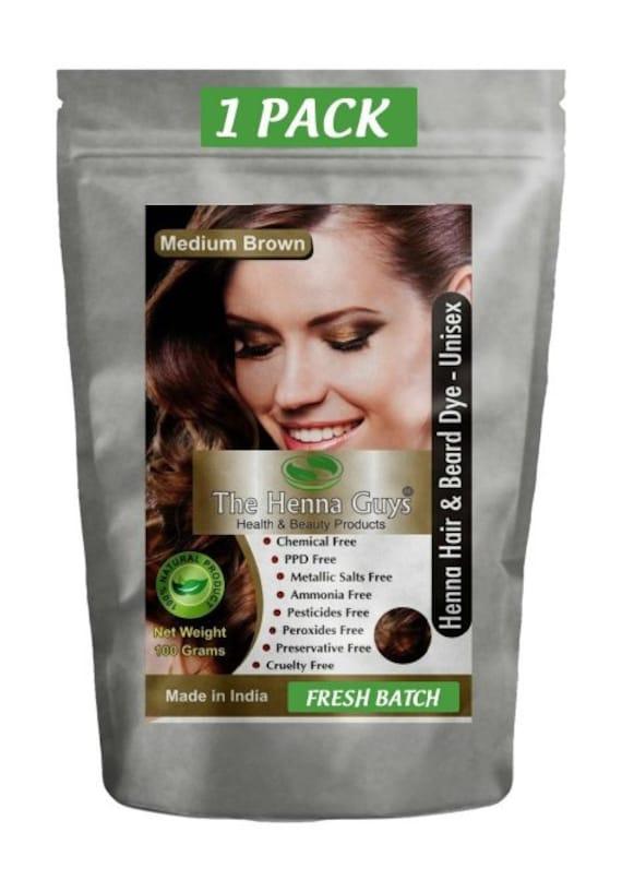 Medium Brown Henna Hair Dye Powder 100g (3.53 Oz) - 100% Natural Product