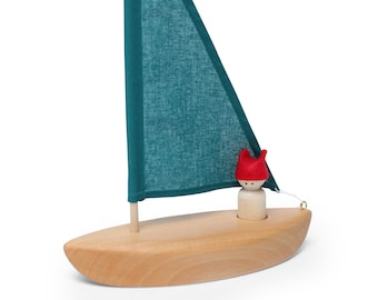 Wooden toy boat - Sailboat - Boat Toy - Bathtub toy - Natural Toy