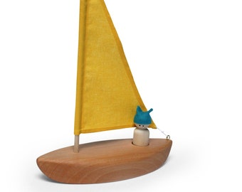 Wooden toy boat - Wooden toys- Sailboat - Boat Toy - Bath toy - Natural Toy -Blue sail sailboat - peg doll sailboat - Bath play time