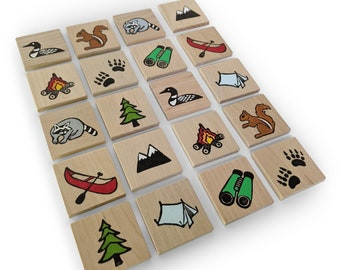 Memory Game- Make a Match Game - Matching Game - Wooden Toy - Wooden Memory Game -Heirloom toy- Waldorf toy- Nature themed memory game