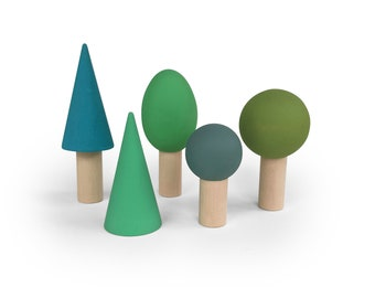 Woodland tree play set - Wooden toys - wooden Trees - wooden tree set - Nature table play set-Minimalist forest - Set of 5 trees