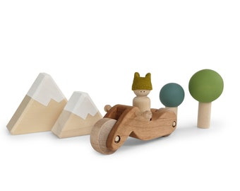Road Trip Playset - peg doll play set - Wooden toys  - Woodland tree play set - Wooden motorcycle for peg doll