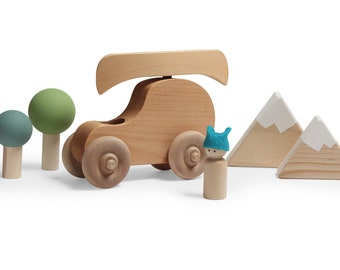 Going Camping Play set - peg doll play set - wooden canoe for peg doll - Wooden boat - Woodland tree play set - wooden toy boat