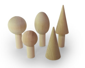 Woodland Tree Play set - Wooden toys - Wooden Tree Set - Minimalist Forest - Natural toys- Nature table play set - Set of 5 trees