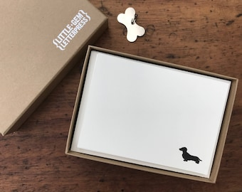 Dachshund notecards - letterpress printed stationery set with sausage dog motif, matching envelopes and gift box