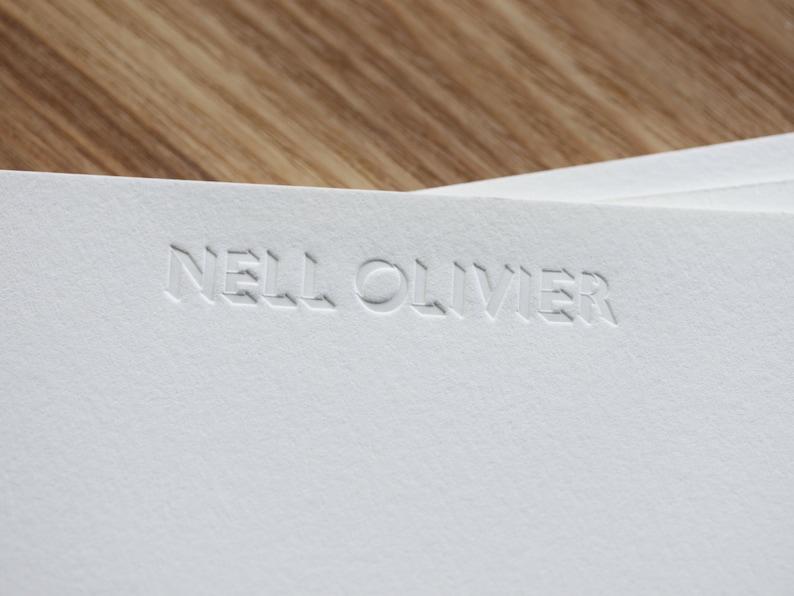 Personalised note cards  letterpress printed inkless image 0