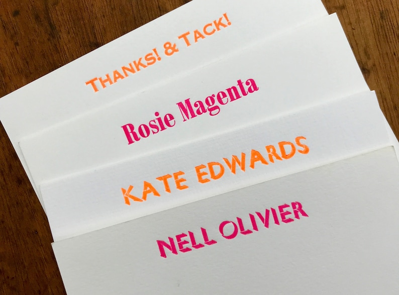 Fluorescent personalised note cards  letterpress printed neon image 0