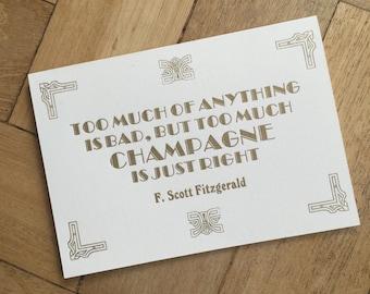 Too Much Champagne - F. Scott Fitzgerald card
