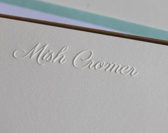 Embossed personalised cards - letterpress printed correspondence cards with embossed name, gift set