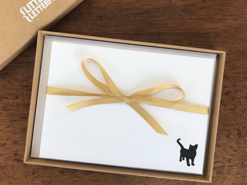 Cat note cards  Letterpress printed correspondence cards with image 0