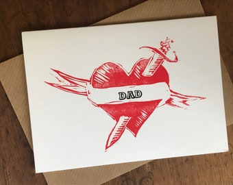 Father's Day Card - heart tattoo linocut letterpress printed father's day card